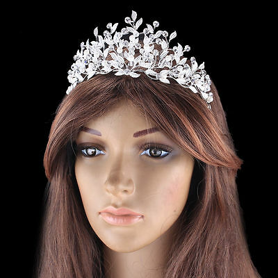 Wedding Silver Crystal Tiaras Headpiece Bridal Pearl Hair Crown Prom Accessories