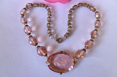 Victorian Pink Glass INTAGLIO Medallion Crystal Choker Antique Necklace 34cm-