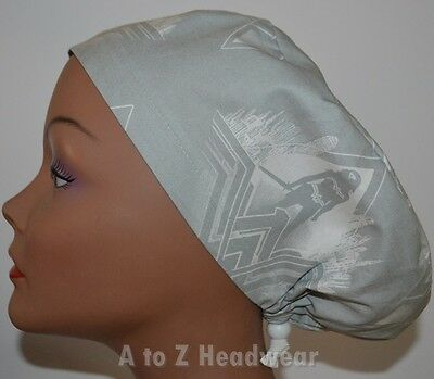 Wonder Woman Silhouette Gray EURO-STYLE Surgical Scrub Hat Chemo Cap
