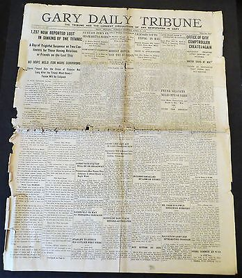 April 16, 1912 - 105 Yr Old, Indiana Newspaper - Ship Titanic Is Lost, 1237 Dead