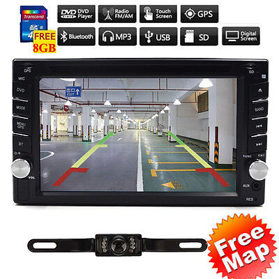 Double 2Din Car Stereo DVD Player GPS Navigation Bluetooth In dash+Backup Camera