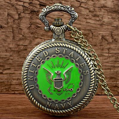 Retro Navy Bronze Pocket Watch Chain Quartz Necklace Pendant Mens Antique Gift