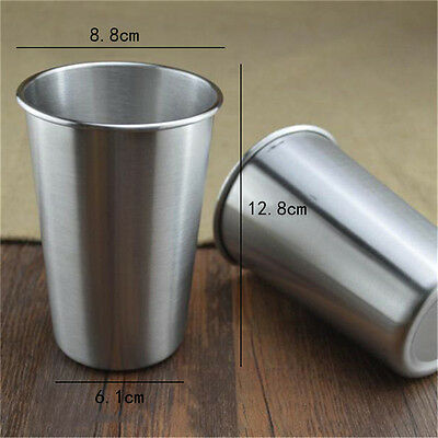 304 Stainless Steel Beer Cup Mug Water Cup Drinks Cup Kitchen Bar Tools 500ML