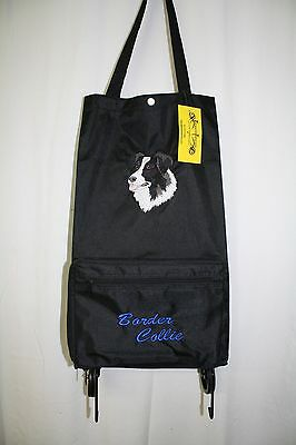 Border Collie  Dog Embroidered On a Black Wheeled Tote Bag