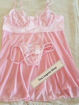 Plus Size Sheer Pink Babydoll/Chemise Underwire Lace Cups Fits 16/18 B-DD Cup