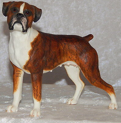 Boxer Female Figurine Hand Painted Resin Flashy Red Brindle Uncropped Ears