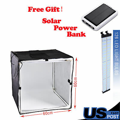 PHOTO MASTER 40cm Square Photo Studio Soft Box tent Led Light +3 x Backdrops US