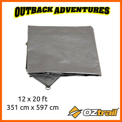 OZTRAIL TARP 12ft x 20ft (3.51m x 5.97m) HEAVY DUTY SILVER ULTRARIG NEW CAMPING