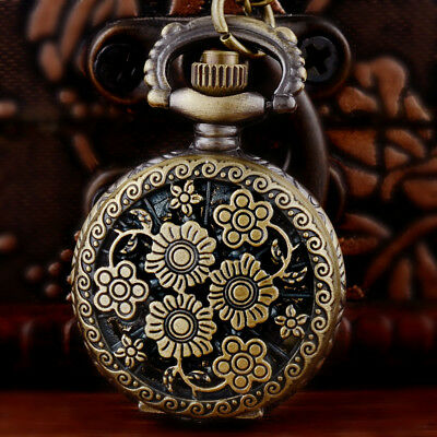 Vintage Bronze Flower Hollow Pocket Watch Retro Quartz Necklace Chain Pendant MA