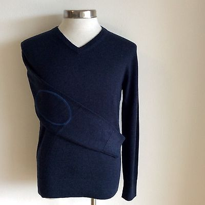 Genres Pure Merino Men V-neck Jumper Pullover With Elbow Patch 5 Colour Choices