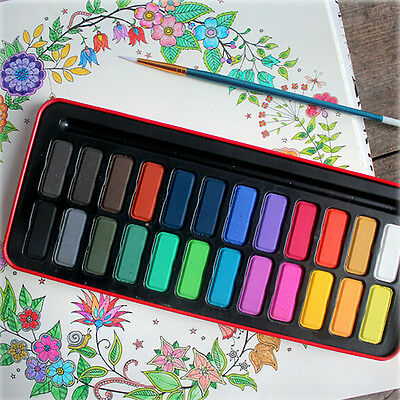 Professional 12/28/24 Colors Solid Watercolor Paint + Brush Pen Kit Tin Box
