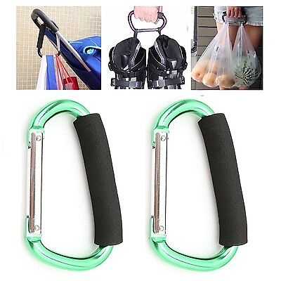 ArunnersTM Stroller Hooks Hanger Bags Holder Carrier Large Carabiner Carry Green
