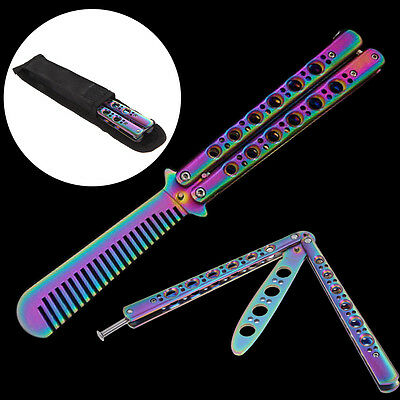 Stainless Trainer Butterfly Cutter Balisong Practice Blunt Comb Sport Tool + bag