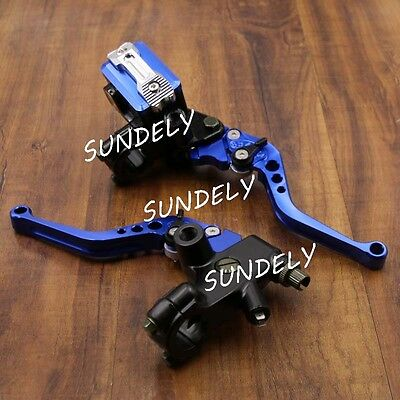 "7/8"" CNC Motorcycle Universal Blue Clutch Brake Levers Master Cylinder Reservoir"