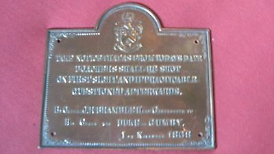 Vintage Small Brass Plaque 1868