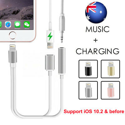 For iPhone 7 & 7 Plus Lightning to 3.5mm Headphone Audio Adapter Charge Cable AU