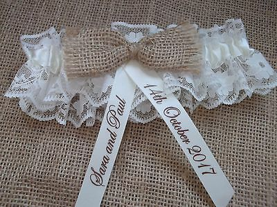 Personalised Hessian Satin And Lace Wedding Garter Rustic Shabby Chic In Box