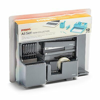 Poppin All Set 12-Piece Desk Collection Organizer Stationery Office Style GRAY