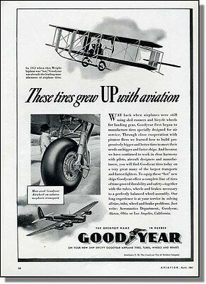 1941 Airplane Tires - Biplane to Transport Goodyear Ad