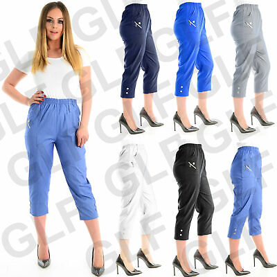 Ladies Womens Elasticated 3/4 Shorts Cropped Capri Trouser Stretch Pockets Pants
