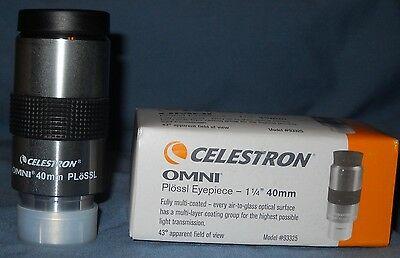 "CELESTRON 40mm OMNI 1-1/4"" PLOSSL EYEPIECE.  NEW IN BOX."
