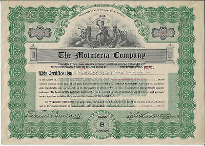 OHIO 1930,  The Mototeria Company  Stock Certificate, Mobile Meat Wagon