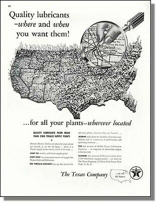 1946 Texaco Lubricants Wherever You Are - US Map Ad