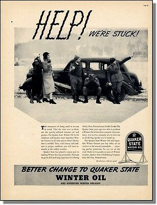 1937 Car Broke Down in the Snow & Hitchhiking ~ Quaker State Motor Oil Photo-Ad