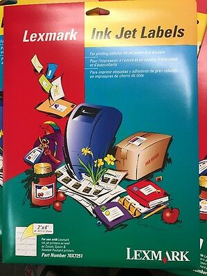 Lexmark Ink Jet Printer Labels Name Tags 70X7251 2x4 Shipping Address 200 LABELS