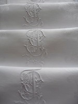 "Set 1 Stunning Antique French Linen Napkins ""jg""  6 White Linen  Dinner Napkins"