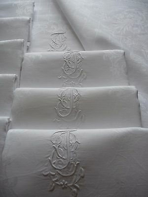 "Antique French Linen Napkins ""jg""  6  Large White Linen  Dinner Napkins Set 2"