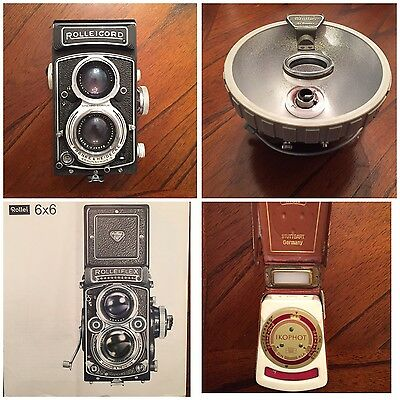 Rollei Rolleicord Vb vintage 6x6 camera, lens Xenar 3.5/75mm & many extra's