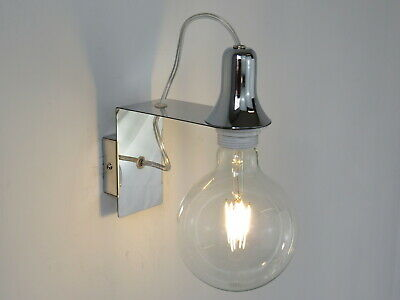 Lampada Parete Applique Design Moderno Cromo Minimal Art Industrial Mini At
