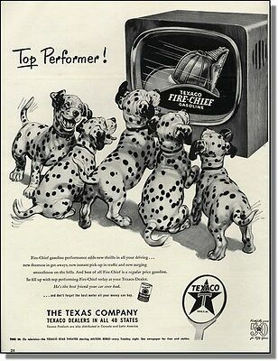 1952 Dalmatian puppy dogs excited about TV ~ Texaco Fire-Chief gasoline print-ad