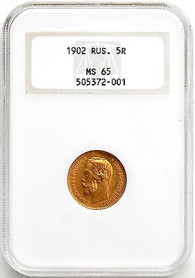 1902 Russia Gold 5 Roubles NGC MS 65   GEM !