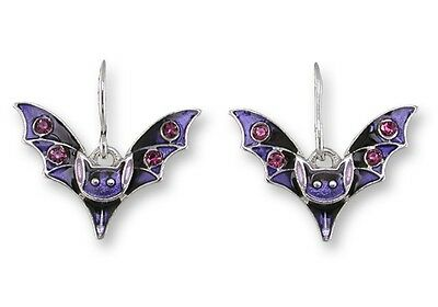 Bat Earrings - Zarah Zarlite, Silver Plated Painted Enamel - Purple Crystal