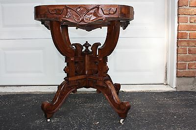 Victorian Era Carved Walnut Burl Marble Top Lamp Table-Beautiful Table