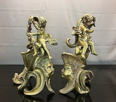 Wonderful Pair Of Louis XV Style Gilt Bronze Cherub / Putti Andiron Chenets