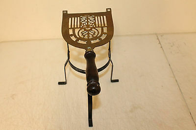 Vintage Brass Wrought Iron Fire Place Kettle Trivet Pot Rest Warming Stand Wood