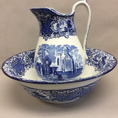 "Blue And White Transfer Pitcher And Bowl, English ""Abbey"""