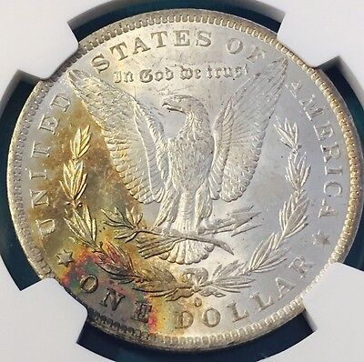 1884-O NGC $1 Morgan Silver Dollar RAINBOW TONING UNIQUE ORIGINAL SKIN MS62
