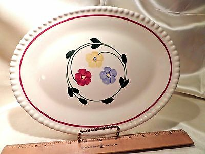 "Vtg Southern Potteries ""daisy Chain"" Ceramic Oval Platter, Off-White W/3 Flowers"