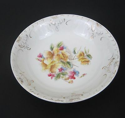 Vtg Porcelain China Floral Bowl Embossed Transferware Yellow Pink Flowers Gold
