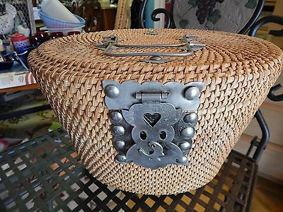 Chinese Woven Tea/Sewing Wicker Basket Metal Clasp