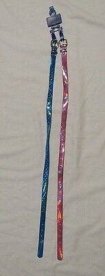 New Simply Basic Girls 2 Pack Belts Size Small/medium 1 Blue W/dots/1 Pink Heart