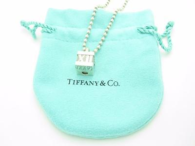 """Tiffany & Co. Sterling Silver Atlas Cube Lock Pendant Beaded Necklace 20"""" Pouch"""