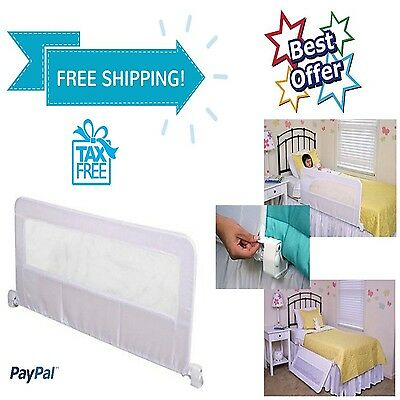 "Bed Rail Child Protection Safety Sleep Regalo Swing Down Bedrail White 43"" x 20"""