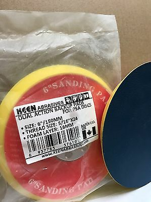 """KEEN 16 mm thick 6"""" X 5/16""""-24 PSA sticky FACE Dual Action PAD #76191, 1 pack"""