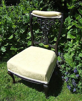 Victorian Low Wooden Nursing Chair - Ornate Carved Back - Refurbishment Project
