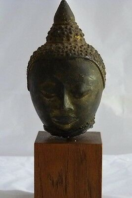 Antique Thai Ayutthaya Period Bronze Buddha Head On Wooden Base
